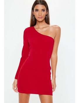 Red One Shoulder Bodycon Dress by Missguided