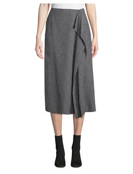 Climmie Dotted Midi Skirt With Flounce by Neiman Marcus
