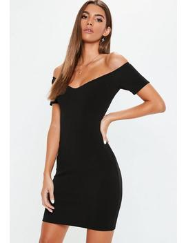 Black Crepe Bardot Bodycon Mini Dress by Missguided