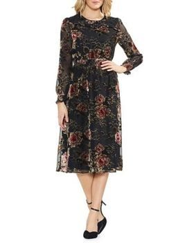 Estate Jewels Floral Velvet Midi Dress by Vince Camuto