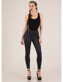 Grid Vibes Only Plaid Skinny Pants by Go Jane