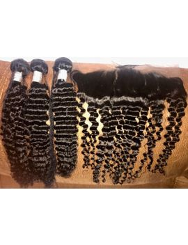 Brazilian Virgin Remy Human Hair Bundles With 13x4 Frontal Closure by Ebay Seller