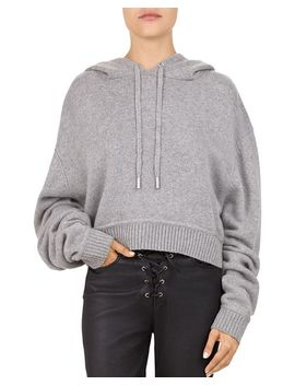 Cropped Hooded Melange Sweater by The Kooples