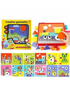 Learning Button Art Pegboard For Toddler, Shapes Color Matching Mosaic Peg Puzzles Board Preschool Activities, Creative Geometry Pegged Games Early Discover Educational Toys, Boys Girls Kid Toy Crafts by Sealive
