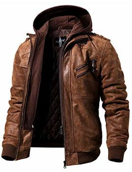 Flavor Men Brown Leather Motorcycle Jacket With Removable Hood by Flavor