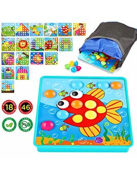 Insoon Button Art Early Learning Educational Toys Color Matching Mosaic Pegboard 46 Pcs Pegs And 18 Templates  Kids Toys For Boys And Girls by Insoon