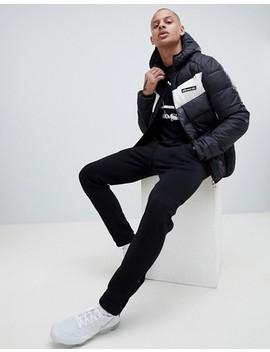 Ellesse Ginap Chevron Puffer Jacket In Black by Ellesse