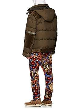 Velvet Trimmed Down Quilted Puffer Jacket by Sacai