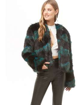 Two Tone Faux Fur Coat by Forever 21