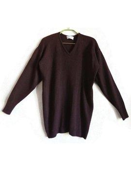 Louis London Merino Wool Sweater Dark Brown V Neck Sweater Pure New Wool Jumper Everyday Clothing Women's Vintage Warm Sweater Virgin Wool by Etsy