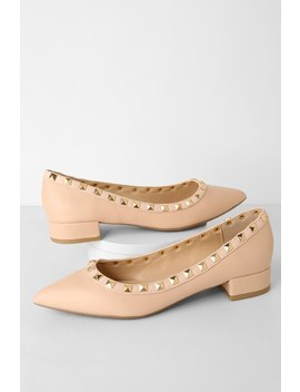 Adelyn Nude Studded Low Pointed Toe Heels by Lulus