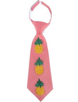 Embroidered Pineapple Silk Blend Tie by Gucci