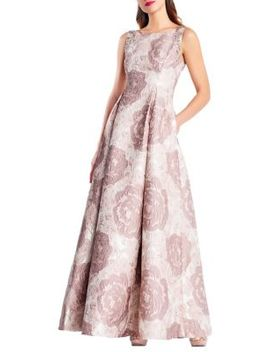 Long Floral Jacquard Dress by Adrianna Papell