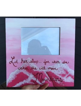 Baby Girl Nursery Frame | Let Her Sleep For When She Wakes She Will Move Mountains | Pink Nursery | Pink Mountains | by Etsy