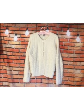 Vintage Cardigan/ Vintage Clothing/ Womens Winter White Sweater Lambswool/Angora Size M by Etsy