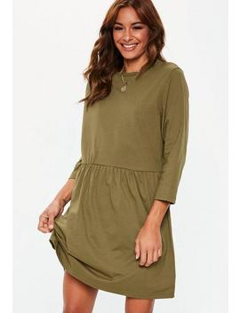 Khaki Jersey Long Sleeve Smock Dress by Missguided