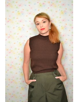 50s Coffee Brown Knit Top, Small Vintage Sleeveless Shell, 1950s Mock Turtleneck Shirt, Fairfield Clothing, Womens Blouse by Etsy