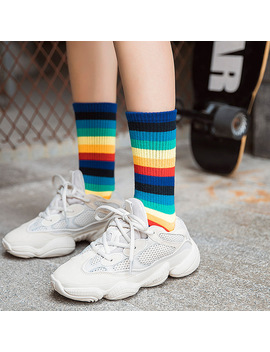 2018 New Women Socks 1 Pair Long Cotton Rainbow Color Striped Printed Novelty Fashion Lady Autumn Socks by Ali Express