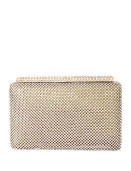 Goldtone Crystal Studded Minaudiere by Natasha