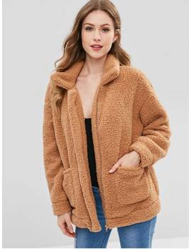 Zip Up Fluffy Faux Fur Winter Coat   Camel Brown S by Zaful
