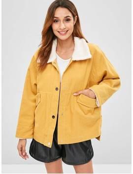 Zaful Snap Button Plain Corduroy Coat   Sun Yellow S by Zaful