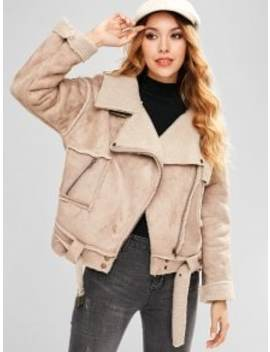 Faux Suede Belted Pocket Coat   Light Khaki M by Zaful