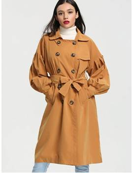 Lantern Sleeve Double Breasted Trench Coat   Ginger S by Zaful