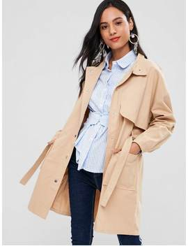 Snap Button Belted Trench Coat   Light Khaki S by Zaful