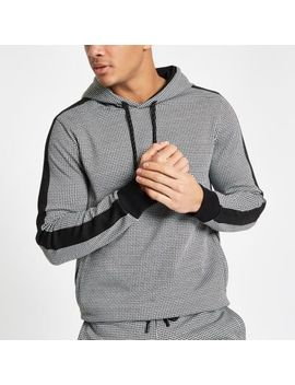 Black Dogtooth Check Slim Fit Hoodie by River Island