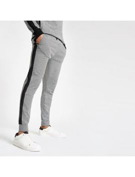 Black Dogtooth Check Slim Fit Joggers by River Island