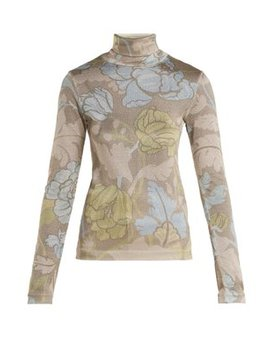 Leaf Print Roll Neck Top by Acne Studios