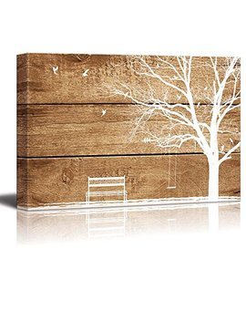 "Wall26 Canvas Prints Wall Art   Artistic Abstract Tree And Birds On Rustic Wood Background   12"" X 18"" by Wall26"