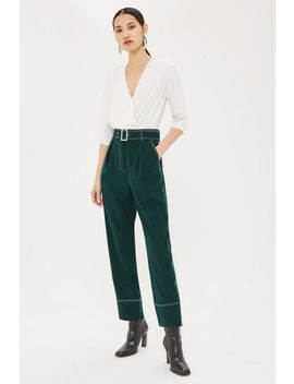 petite-twill-deep-cuff-trousers by topshop