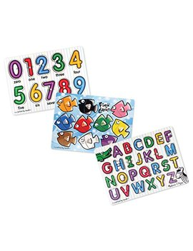 Melissa & Doug Classic Wooden Peg Puzzles (Set Of 3)   Numbers, Alphabet, And Colors by Melissa & Doug
