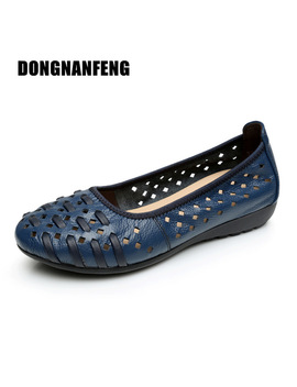 Dongnanfeng Mother Women Shoes Old Flats Hollow Out Cow Genuine Leather Slip On Loafers Casual Vintage 5 Colors 34 43  Hn 1627 by Dongnanfeng