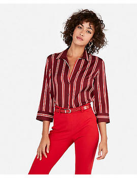 Striped Button Front Y Neck Shirt by Express