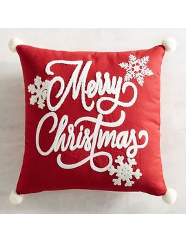 Merry Christmas Red & White Pillow With Poms by Pier1 Imports