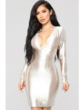 Clair De Lune Dress   Gold by Fashion Nova