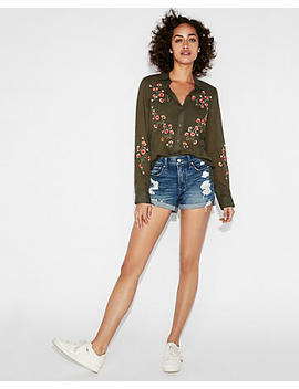 Floral Embroidered Shirt by Express