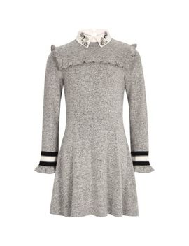 Girls Grey Embellished Collar Dress by River Island