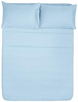 Amazon Basics 400 Thread Count Sheet Set, 100 Percents Cotton, Sateen Finish   Twin, Smoke Blue by Amazon Basics