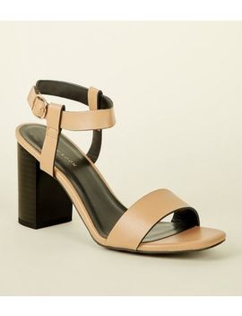 Light Brown Leather Look Block Heel Sandals by New Look