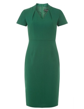 Green Inverted Neck Pencil Dress by Dorothy Perkins