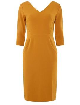 Ochre Seamed 3/4 Sleeve Pencil Dress by Dorothy Perkins