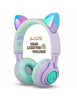 Kids Headphones, Riwbox Ct 7 S Cat Ear Bluetooth Headphones 85d B Volume Limiting,Led Light Up Kids Wireless Headphones Over Ear With Microphone For I Phone/I Pad/Kindle/Laptop/Pc/Tv (Purple&Green) by Riwbox