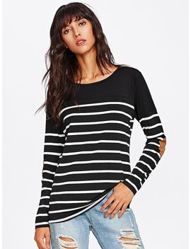 Elbow Patch Striped Tee by Sheinside