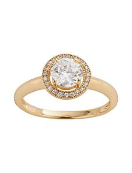 The Silver Lining 24k Gold Over Brass Cubic Zirconia Frame Ring by Kohl's