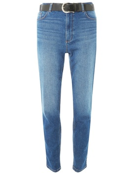 Blue Belted 'mom' Jeans by Dorothy Perkins