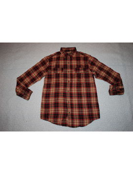 Mens L/S Flannel Shirt Button Front Tan Black Red Plaid 2 Chest Pockets S 34 36 by Faded Glory