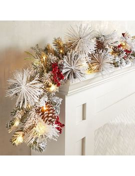 Led Pre Lit Snowy Faux Pine Berries 6' Garland by Pier1 Imports